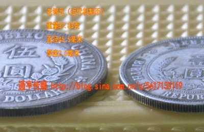 孙中山头像五毫的硬币 中华民国开国纪念币伍圆、壹圆银元对比
