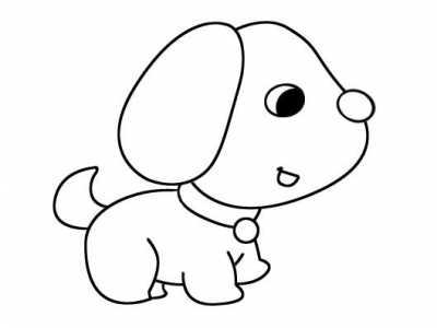可爱小狗狗怎么画小狗简笔画图片素描 小狗素苗画